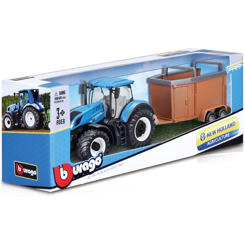 Bburago New Holland Agriculture Farm Tractor With Trailer